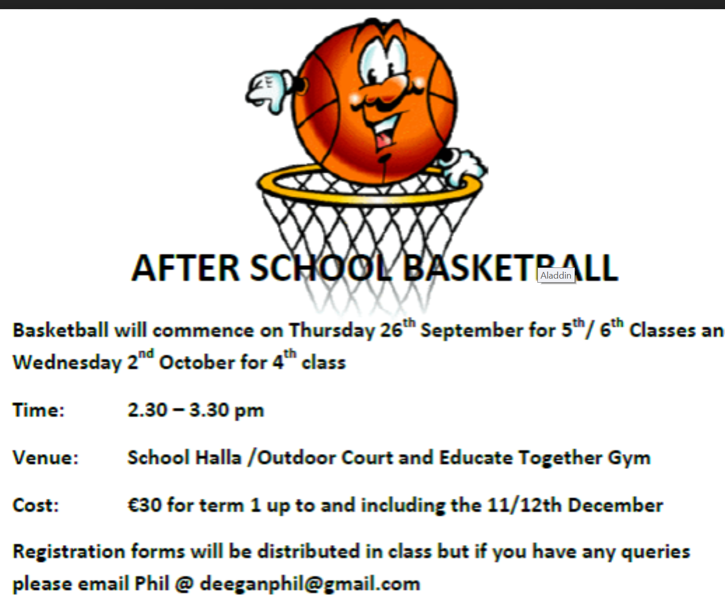 Basketball Training is beginning this week.