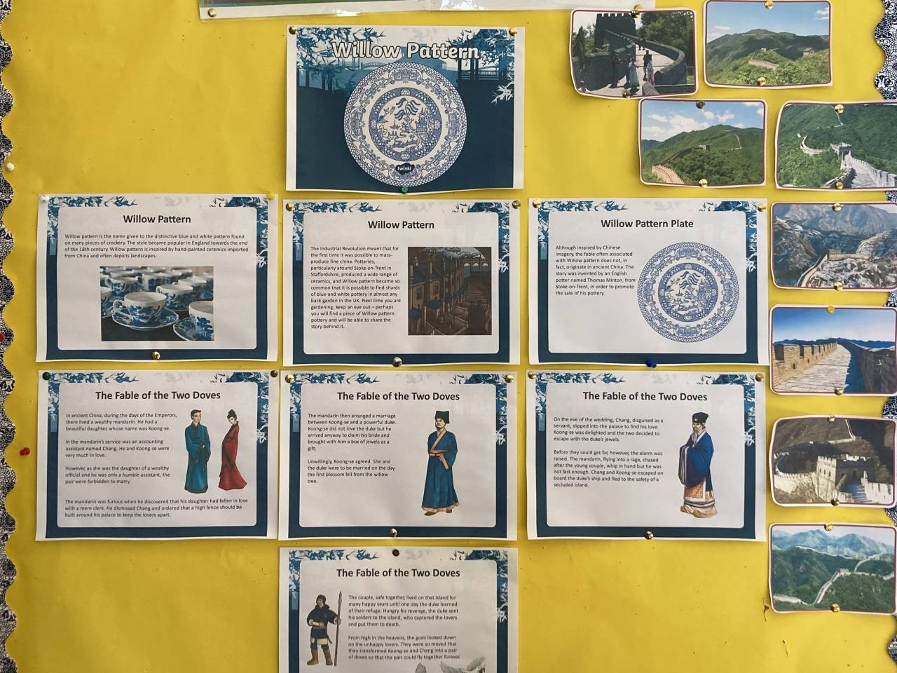 Our 6th class art was inspired by the Willow pattern and our study of Ancient China this week.